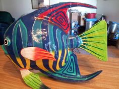 TWO BEAUTIFUL VERY COLORFUL PAPER MACHE FISH. 13 X 17.
