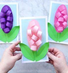 DIY 3D Hyacinth flower mothers day card - paper craft for kids // Egyszerű térbeli jácint virágos anyák napi képeslap - ötlet gyerekeknek // Mindy - craft tutorial collection // #crafts #DIY #craftTutorial #tutorial