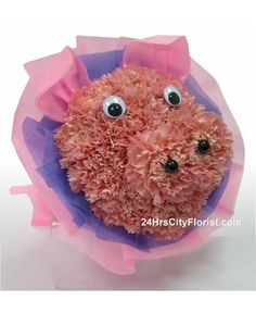 Flower Delivery In Singapore - Piggy Bouquet by 24Hrs City Florist