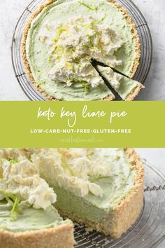 This Keto Key Lime Pie is a delicious and low-carb dessert recipe that is full of flavor! Made without almond flour, this tasty pie recipe is a great option for those who follow a ketogenic diet and cannot eat almonds! Minimal prep time, a short cook time, and then simply let the pie chill in the refrigerator - that's it! The best part? Each slice contains minimal grams of net carbs! If you want an easy keto key lime pie recipe, this it it! #realbalancedblog #ketopie #keylimepie… Free Keto Recipes, Low Carb Recipes, Baking Recipes, Dessert Recipes, Sugar Free Desserts, Low Carb Desserts, Healthy Desserts, Sin Gluten, Gluten Free