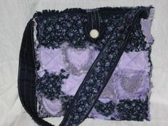 Rag Quilt Tote with Heart Appliques Pattern by MomandPopCraft #sew practical  #mom and pop craft