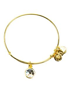 For the April birthday: this Alex and Ani bangle features the crystal, meant as a symbol of affection, independence, and love. | Gold-tone or silver-tone plating on recycled brass base/crystal | Made