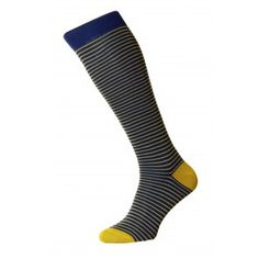 Swinton Long (Over the Calf) - Classic Stripe with Contrast Heel & Toe - Cotton Lisle Men's Socks