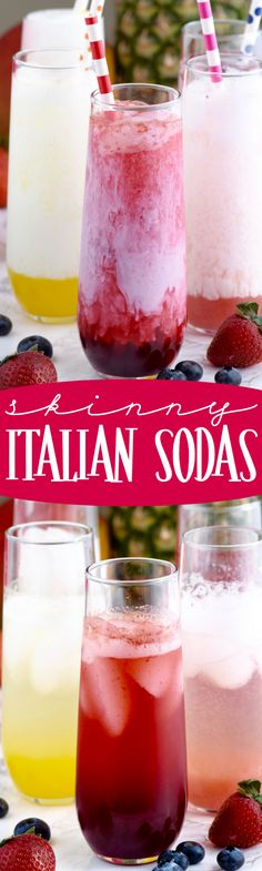 These Skinny Italian Sodas are super delicious! Made with fresh fruit but lighte… These Skinny Italian Sodas are super delicious! Made with fresh fruit but lightened up! Fresh Fruit Desserts, Fruit Drinks, Healthy Drinks, Alcoholic Drinks, Beverages, Cocktails, Drinks Alcohol, Healthy Eating, Italian Soda Bar