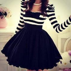 Black And White Striped Skirt fashion skirt style fashion ideas fashion and style fashion for women style ideas Cute Fashion, Look Fashion, Fashion Ideas, Dress Skirt, Dress Up, Skater Skirt, Swing Dress, Dress Night, Knot Dress