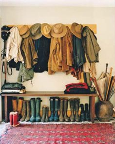 This is how full our coat cupboard / boot room will be at home. PLUS a load more shoes, racquets, cycle helmets etc. on the opposite wall! Image by Francois Halard Halls, Interior And Exterior, Interior Design, Country Life, Country Wear, Mudroom, Foyer, Sweet Home, Decoration