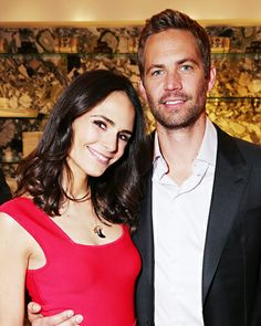 Jordana Brewster (in BCBG Max Azria) and Paul Walker posed together at Nobu after a special presentation of their slate for Fast and Furious 6 in Las Vegas.
