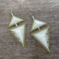 3D Printed Geo Bold Abstract Triangles, Army Green Sheer to Clear PLA Ombre Forest Green Ice Earrings, Silver Links, Lightweight Bold Design by FISH3Ddesigns on Etsy
