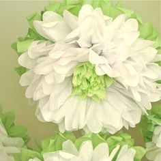 Whitewashed Wonderland 7 Giant Tissue Paper Pom Flowers by Whimsy Pie Hanging Paper Flowers, Tissue Paper Flowers, Giant Paper Flowers, Diy Flowers, Paper Roses, Paper Art, Paper Crafts, Origami, Paper Flower Tutorial