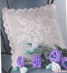 Подушка, филейное вязание