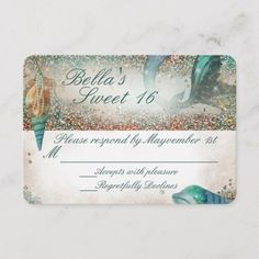 Shop Under the Sea Mermaid Party Response Card created by BellaLuElla. Mermaid Party Invitations, Pool Party Birthday Invitations, Wedding Response Cards, Mermaid Parties, Under The Sea Party, Mermaid Birthday, Party Themes, Theme Parties, Paper Texture