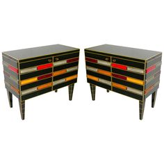 Italian Pair of Black Glass Sideboards with Colored Glass Tiles Glass Sideboard, Sideboard Cabinet, Antique Furniture, Modern Furniture, Dawn And Dusk, Modern Cabinets, Cabinet Colors, Art Pages, Black Glass