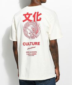 YRN International Culture Ivory T-Shirt The International Culture tee from Young Rich Nation features a detailed back screen print of a bird with large wings and feathers in red with a red left chest hit on an ivory, cotton shirt. Shirt Print Design, Tee Shirt Designs, Tee Design, Graphic Shirts, Printed Shirts, Tee Shirts, Hang Ten, Streetwear, Tee Shirt Homme