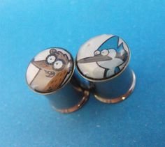 Mordecai and Rigby picture plugs gauges embedded resin filled - Made to Order 4, 2, 0, 00, 7/16, 1/2 on Etsy, $16.00