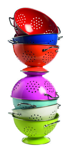 lots of colanders ... lots of colors. although i'd take an assortment of copper ones :-)