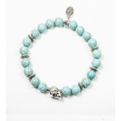 Bracelet Howlite turquoise et tête de mort plaqué argent