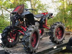 """Ricky P Walker, full armor off-road suspension lift,6"""" GDP portals,full armor floor boards, full armor rear rack, full armor front and rear upgraded drive shafts, 3p clutches, king cobra lvl1 in front, lvl 2s in rear, specialized atv billet diff, torque locker... Rjwc exhaust & turner and sycotic fab 22"""" 3 piece aluminum wheels wrapped in 40"""" bkts Can Am Atv, Truck Bedroom, Off Road Suspension, Go Car, Four Wheelers, King Cobra, Dirtbikes, Drive Shaft, Aluminum Wheels"""