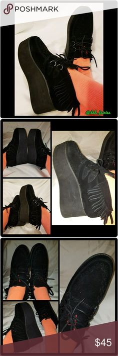 YRU  Black moccason creepers YRU  Black moccasins creepers. Good condition.  Size 7 but fits a size 8. I'm a size 8 and they fit perfect.  Super cute for festivals or just hanging around town. Message me for more details. Open to offers. Bundle and save. Thanks for looking. #YRU #moccasins #creepers #size7 #size8 #dancing #festivals #opentooffers #bundleandsave YRU Shoes