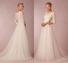 2015 Modest Wedding Dresses With Sleeves Sexy Sheer Lace Applique Lace Applique Jewel Neckline Elegant A Line Champagne Tulle Bridal Gowns Dress Wedding High Street Wedding Dresses From Eiffelbride, $120.61| Dhgate.Com