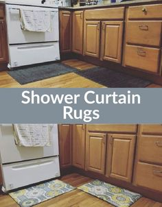 Covering Rugs in Shower Curtains - I imagine at some point I may want to do something like this