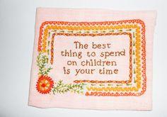 Vintage 1970s embroidery needlework wall by QuiltsHerbsPaper4U, $7.95