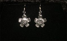 PURE SILVER ANTIQUE TEXTURED FLOWER EARRINGS - $85.00 #jewellery #pure silver #silver #antique #textured #earrings #flower #handmade #handcrafted