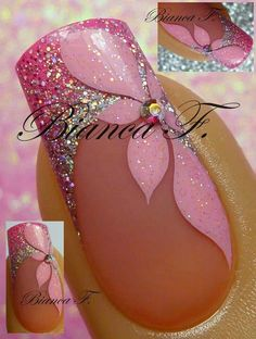 Gorgeous French Manicure Nail Design with Glittered Pink Silver Tips and a Pretty Pink Flower Painted on the Side!