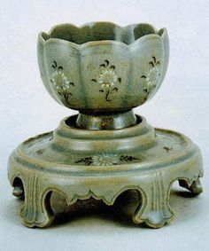 Celadon Wine Cup with Pedestal, Goryeo Period