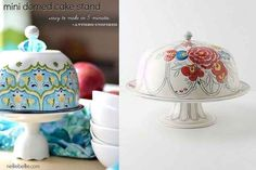 Coordinating dishes make a lovely cake stand.