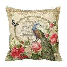 Pillow Cover Square Size Vintage French Shabby Chic Peacock Lumbar Pillowcase Hidden Cushion Gift Home Bedroom Couch