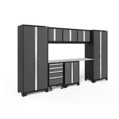 NewAge Products Bold Series 3 W x H Charcoal Gray Steel Garage Storage System at Lowe's. Designed to make a big statement in garages, workshops, mudrooms and other areas of your home, the Bold Series cabinet system instantly upgrades the Garage Storage Systems, Garage Storage Cabinets, Storage Organization, Tall Cabinet Storage, Locker Storage, Wall Cabinets, Garage Shelving, Storage Rack, Storage Shelves