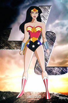 Wonder Woman Drawing, Wonder Woman Art, Wonder Woman Comic, New Justice League, Justice League Unlimited, Bruce Timm, Comic Art, Comic Books, Lynda Carter