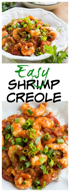 Easy Shrimp Creole - fresh shrimp cooked in a tomato sauce flavored with onion, garlic, and green pepper.