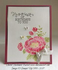 Birthday Blooms, www.sharonburkert.com rose, olive, curry, white & silver embossing, silver foil cs