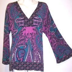 INC Top XL Purple Paisley Slinky Stretch Knit Long Sleeve Boho Hippy Tunic Shirt #INCInternationalConcepts #KnitTop #Casual
