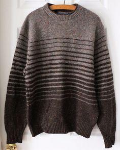 Vintage Pendleton 100% Wool Crew Neck Pullover Sweater Brown Striped Medium USA #Pendleton #Crewneck