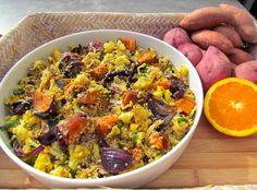 Roast Kumara and Cauliflower Quinoa Salad with Orange Mustard Dressing Vegetarian Recipes, Cooking Recipes, Healthy Recipes, Healthy Food, Kumara Recipes, Orange Salad, Mustard Dressing, Mixed Vegetables, Quinoa Salad