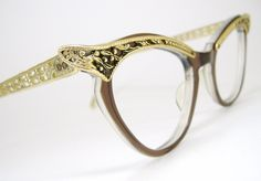 vintage eyeglass images   Vintage Eyeglasses Sexy Gold Winged Cat Eye by Vintage50sEyewear