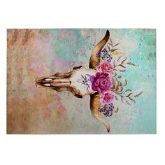 Kavka Designs Blue/ Tan/ Ivory/ Green/ Purple Deer Skull Indoor/Outdoor Floor Mat ( 4' X 6' ) | Overstock.com Shopping - The Best Deals on 3x5 - 4x6 Rugs