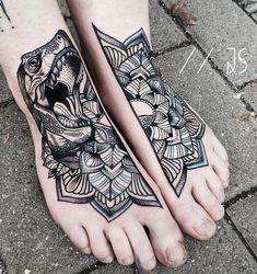 T-Rex Mandala Double Foot Piece   Tattoo Ideas