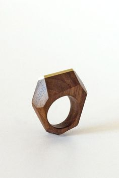Hand Carved Wood Facet Ring, Walnut and Brass - Zeal Living  - 5
