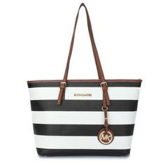 Look hot all season with Michael Kors Jet Set Striped Travel Medium Black White Totes. Check out these top season trends with it to match. #MichaelKorsBags