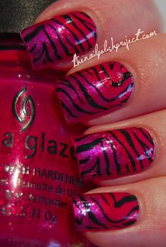 Great pink gradient tiger - Start with 2 coats of Strawberry Fields, then sponge the middle of the nail with Ahoy! and nail tip with Senorita Bonita all from China Glaze.