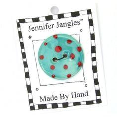 Round Button - Handmade Ceramic Turquoise 1 inch | Jennifer Jangles