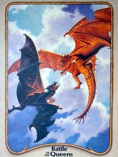 Battle of the Queens by Tim Hildebrand, from the 1985 Dragonriders of Pern calendar (Wirenth and Prideth)