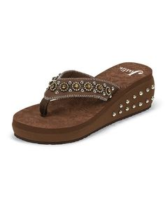 0e30f3ce746bd Justin Boots Brown Rhinestone Studded Wedge Sandal
