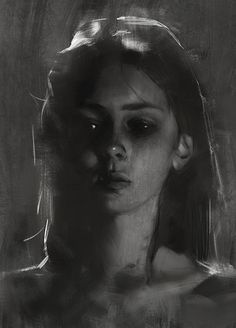 """N_N"" - Yizheng Ke, 2018 {figurative beautiful female head young woman face portrait monochrome digital painting} L'art Du Portrait, Portrait Sketches, Digital Portrait, Pencil Portrait, Art Sketches, Charcoal Portraits, Charcoal Art, Charcoal Drawings, Charcoal Drawing Tutorial"