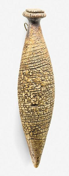 Hanging form bottle vase, with textured umber pigmented surface, impressed initials. New Zealand Art, Art Society, Bottle Vase, Art Object, Ceramic Art, Tea Pots, Lens, Castle, Ceramics