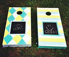 Homemade cornhole boards. Took two days to construct and paint but worth it! (chalkboard paint in the middle)