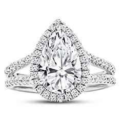 1.25 Ctw Pear Cut Designer Twisting Eternity Channel Set Four Prong 14K White Gold Diamond Engagement Ring H-I Color SI2-I1 Clarity 0.75 Ct Center